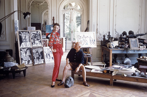 Pablo Picasso with French model Bettina Graziani in his Cannes Villa, La Californie 1955 © 2001 Mark Shaw - Image 12059_0018