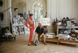 Pablo Picasso with French model Bettina Graziani in his Cannes Villa, La Californie 1955 © 2001 Mark Shaw - Image 12059_0022