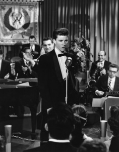"""Pete Candoli and Ricky Nelson during an episode of """"The Adventures of Ozzie & Harriet""""circa 1950s** Sheryl Deauville Candoli Collection - Image 12106_0011"""
