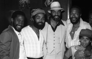 Marvin Gaye at his 40th birthday party being given by Motown Records with his son and Frankie Beverly1979© 1979 Bobby Holland - Image 12163_0051