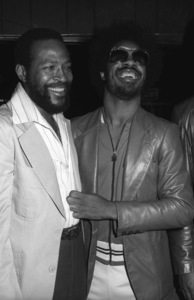 Marvin Gaye at his 40th birthday party being given by Motown Records with Stevie Wonder1979© 1979 Bobby Holland - Image 12163_0052