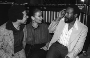 Marvin Gaye at his 40th birthday party being given by Motown Records with Smokey Robinson and Freda Payne1979© 1979 Bobby Holland - Image 12163_0054