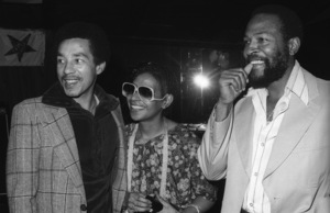 Marvin Gaye at his 40th birthday party being given by Motown Records with Smokey Robinson and Zeola Gaye1979© 1979 Bobby Holland - Image 12163_0055