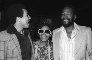 Marvin Gaye at his 40th birthday party being given by Motown Records with Smokey Robinson and Zeola Gaye1979© 1979 Bobby Holland - Image 12163_0056