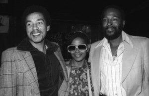 Marvin Gaye at his 40th birthday party being given by Motown Records with Smokey Robinson and Zeola Gaye1979© 1979 Bobby Holland - Image 12163_0057