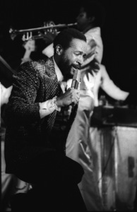 """Marvin Gaye performing at """"Motown Records Night"""" at the BRE Convention in Universal City, CA 1979 © 1979 Bobby Holland - Image 12163_0073"""