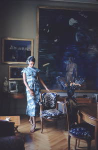 "Raoul Dufy Art ""Aphrodite"" - Rt., ""The Breakwater""-Lft. with French model Jackie Mazel 1955 © 2001 Mark Shaw - Image 12413_0004"