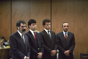 Lyle and Erik Menendez at their trial with attorneys Gerald Chaleff and Robert Shapiro 1990© 1990 Gunther - Image 12429_0005