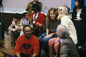Emmanuel Lewis, Michael Jackson and Quincy Jones at the recording session for Frank Sinatra