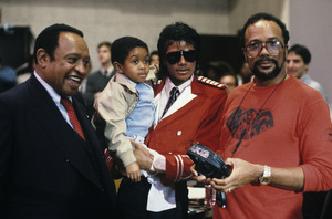 Lionel Hampton, Emmanuel Lewis, Michael Jackson and Quincy Jones at the recording session for Frank Sinatra