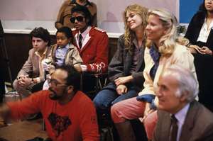 Leonard Balk, Emmanuel Lewis, Michael Jackson, Quincy Jones, Peggy Lipton and Steve Ross at the recording session for Frank Sinatra