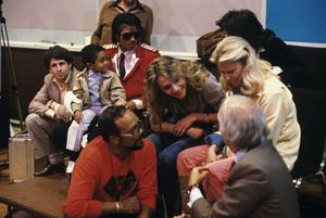 Leonard Balk, Emmanuel Lewis, Michael Jackson, Quincy Jones, Peggy Lipton and Steve Ross at the recording session for Frank Sinatra