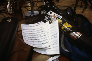 Sheet music on the floor of the studio during the recording session for Frank Sinatra