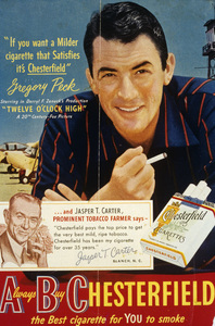 Gregory Peck in an advertisement for Chesterfield cigarettescirca 1950© 1978 Paul Hesse - Image 12560_0001