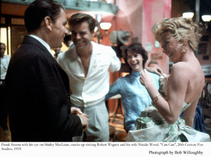"""""""Can Can""""Frank Sinatra, Robert Wagner, Natalie Wood & Shirley MacLaine visit on the set. 1959 © 1978 Bob Willoughby - Image 1260_0018"""
