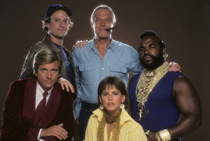 """The A-Team""Dirk Benedict, Dwight Schultz, George Peppard, Melinda Culea, Mr. T1984 © 1984 Mario Casilli - Image 12608_0019"