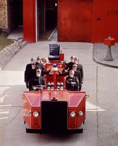 Oskar Werner and cast in futuristic fire truck, Fahrenheit 451, Universal, 1966, I.V. - Image 12706_0021