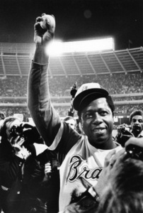 Hank Aaron after hitting his 715th Home Run to beak Babe Ruth
