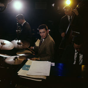 Drummer Shelly Manne performing at Shelly