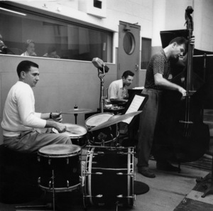 Shelley Manne (drums) and Russ Freeman (piano) at a recording session, Los Angeles, CA, 1954. © 1978 Bob Willoughby / MPTV - Image 13176_123