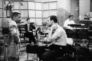"""The Benny Goodman Story"" Recording Session, Universal 1955.Teddy Wilson, Erbie Green, Stan Getz, and Gene Krupa. © 1978 Bob Willoughby / MPTV - Image 13318_11"