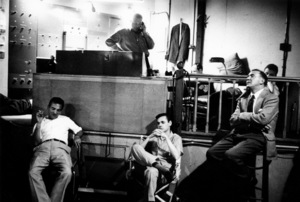 """The Benny Goodman Story"" Recording Session, Universal 1955.Gene Krupa, Erbie Green, and Benny Goodman. © 1978 Bob Willoughby / MPTV - Image 13318_13"