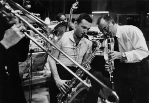 """The Benny Goodman Story"" Recording Session, Universal 1955.Stan Getz (sax) and Benny Goodman (clarinet). © 1978 Bob Willoughby / MPTV - Image 13318_3"