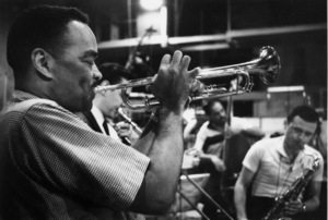 """The Benny Goodman Story"" Recording Session, Universal 1955.Buck Clayton (trumpet), Erbie Green (trombone), and Stan Getz (sax). © 1978 Bob Willoughby / MPTV - Image 13318_8"