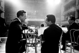 """The Benny Goodman Story,"" Universal 1955.Harry James and Gene Krupa at the recreation of New York City"