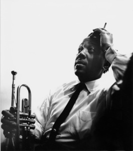 "Roy ""Little Jazz"" Eldridge backstage at the Shrine Auditorium for Norman Granz"