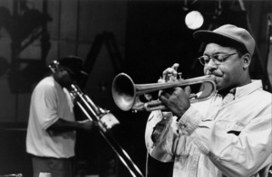 "Wynton Marsalis and Wycliffe Gordon (background) rehearsing for the ""Jazz Gipfel"" concert, Stuttgart, Germany, 1992. © 1978 Bob Willoughby / MPTV - Image 13359_19"