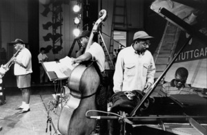 "Wynton Marsalis with Wycliffe Godon (trombone), Reginald Veal (bass), and Marcus Roberts (piano) at the sound check for the ""Jazz Gipfel"" concert, Stuttgart, Germany, 1992. © 1978 Bob Willoughby / MPTV - Image 13359_20"