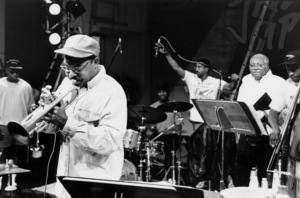 """Wynton Marsalis and his father, Ellis Marsalis (background), at the sound check for the """"Jazz Gipfel"""" concert, Stuttgart, Germany, 1992. © 1978 Bob Willoughby / MPTV - Image 13359_21"""