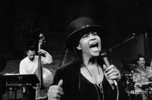 "Abbey Lincoln with Marcus Melaurine (bass) and Taru Alexander (drums) at the ""Jazz Gipfel"" concert, Stuttgart, Germany, 1992. © 1978 Bob Willoughby / MPTV - Image 13363_24"
