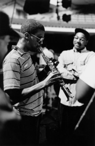 "Marcus Roberts and Wynton Marsalis (right) rehearsing for the ""Jazz Gipfel"" concert, Stuttgart, Germany, 1992. © 1978 Bob Willoughby / MPTV - Image 13365_14"