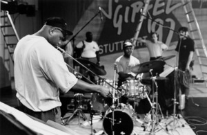 "Wycliffe Gordon (trombone) and Herlin Riley (drums) rehearsing for the ""Jazz Gipfel"" concert, Stuttgart, Germany, 1992. © 1978 Bob Willoughby / MPTV - Image 13366_11"