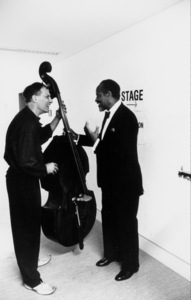 """Percy Heath and Glen Moore (left) backstage at the """"Jazz Gipfel"""" concert, Stuttgart, Germany, 1992. © 1978 Bob Willoughby / MPTV - Image 13367_28"""