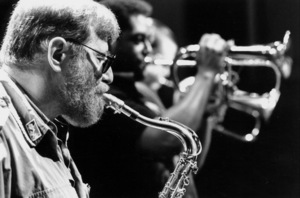 """N.Y. Jazz Giants: Lew Tabackin, John Faddis, and Tom Harrell at the """"Jazz Gipfel"""" concert, Stuttgart, Germany, 1992. © 1978 Bob Willoughby / MPTV - Image 13371_30"""