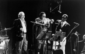 """Red Rodney with Claudio Rodito and Freddie Hubbard at the """"Jazz Gipfel"""" concert, Stuttgart, Germany, 1992. © 1978 Bob Willoughby / MPTV - Image 13372_35"""