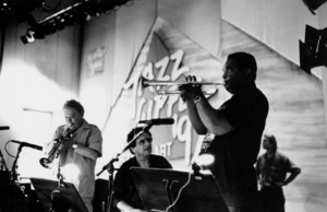 """Red Rodney with Claudio Rodito and Freddie Hubbard rehearsing for the """"Jazz Gipfel"""" concert, Stuttgart, Germany, 1992. © 1978 Bob Willoughby / MPTV - Image 13372_37"""