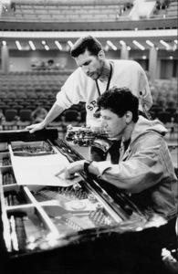 """Chick Corea and Bob Berg (sax) at the sound check for the """"Jazz Gipfel"""" concert, Stuttgart, Germany, 1992. © 1978 Bob Willoughby / MPTV - Image 13380_4"""