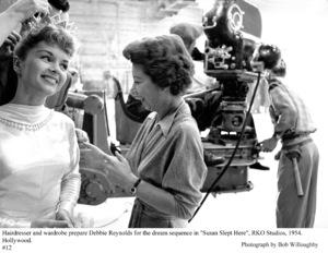 """""""Susan Slept Here"""" Debbie Reynolds and Hairdresser on the set1954 RKO © 1978 Bob Willoughby - Image 1338_0008"""