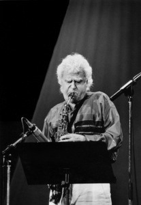 """Charlie Mariano with the Rabih Abou-Khalil Perfurme Project at the """"Jazz Gipfel"""" concert, Stuttgart, Germany, 1992. © 1978 Bob Willoughby / MPTV - Image 13400_6"""