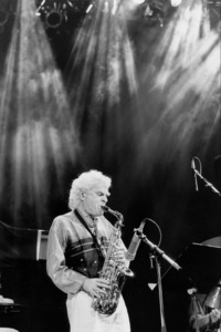 """Charlie Mariano with the Rabih Abou-Khalil Perfurme Project at the """"Jazz Gipfel"""" concert, Stuttgart, Germany, 1992. © 1978 Bob Willoughby / MPTV - Image 13400_7"""