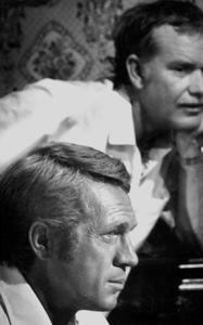 "Steve McQueen on the set of ""Junior Bonner"" with director, Sam Peckinpah, 1972. © 1978 Bill AveryMPTV - Image 1340_5"