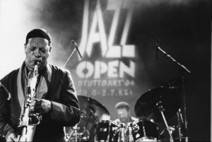 "Ornette Coleman and his quartet with Denardo Coleman (background) at the ""Jazz Gipfel"" concert, Stuttgart, Germany, 1992. © 1978 Bob Willoughby / MPTV - Image 13402_3"