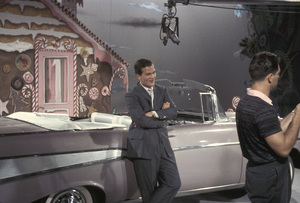"""All-Star Chevy Show""Pat Boone leaning against a 1957 Chevy Bel-Air1957Photo by Gerald Smith - Image 13417_0014"