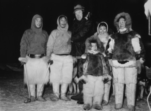 """U.S.O. Tour""(Alaska)Bob Hope in Fairbanks with an Eskimo family1956Photo By Gerald SmithMPTV - Image 13446_2"