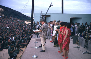 """U. S. O. Tour"" (Southeast Asia - Vietnam)Bob Hope with the Korean Kittens, Rita Faria (Miss World), Joey Heatherton, Anita Bryant, and Vic Damone, 1966.Photo by Gerald Smith - Image 13450_0015"