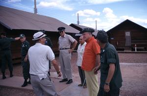 """U. S. O. Tour"" (Southeast Asia - Vietnam)Bob Hope, Mort Lochman, and Col. Gates, 1966.Photo by Gerald Smith - Image 13450_0020"